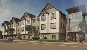 Architect's rendering of proposed three-story building in Hawthorne