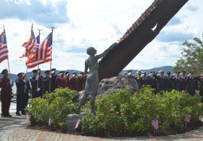 The Color Guard procession at the Tri-Municipal 9/11 Memorial Ceremony at Croton Landing.