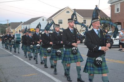 The Stephen Driscoll Memorial Pipe Band playing