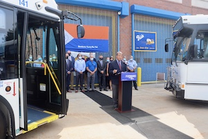 Westchester County Executive George Latimer announcing all-electric Bee-Line buses.