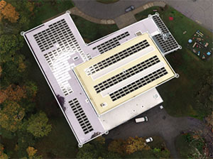 Rending of a rooftop solar array at St. Theresa's in Briarcliff Manor
